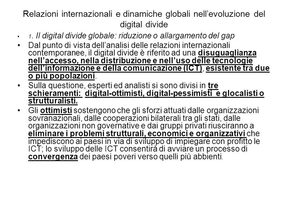Relazioni internazionali e dinamiche globali nellevoluzione del digital divide 1.