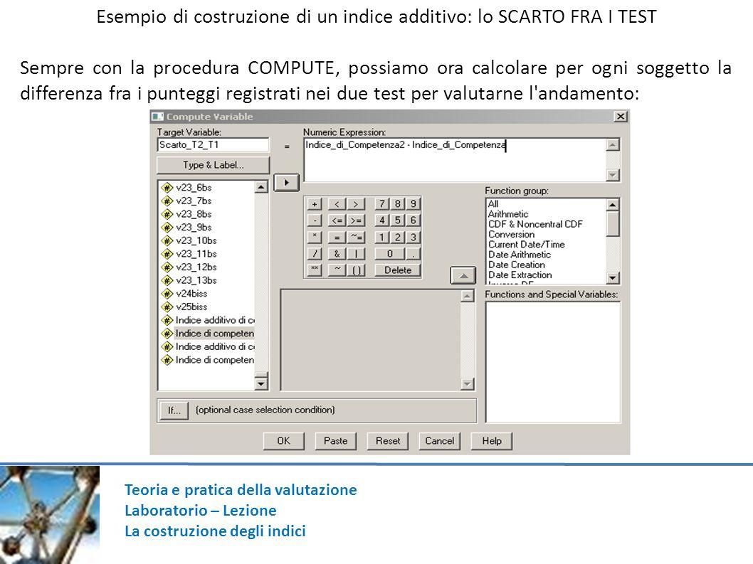 Teoria e pratica della valutazione Laboratorio – Lezione La costruzione degli indici Esempio di costruzione di un indice additivo: lo SCARTO FRA I TES