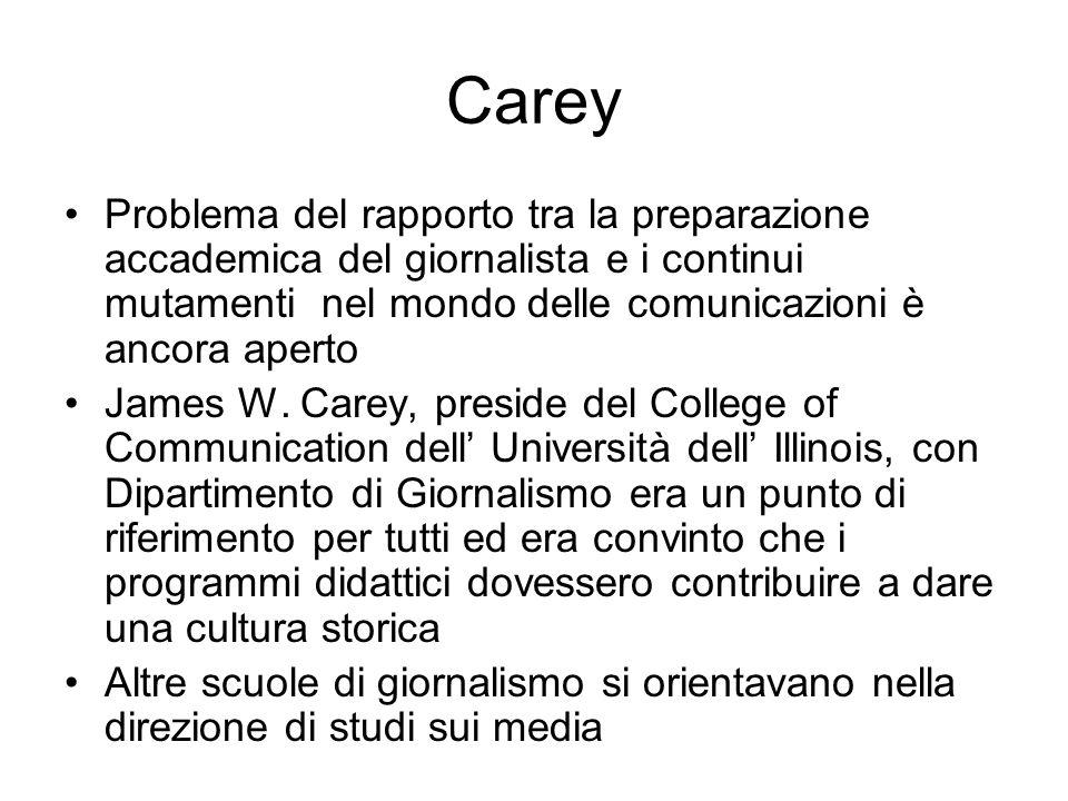 Carey Problema del rapporto tra la preparazione accademica del giornalista e i continui mutamenti nel mondo delle comunicazioni è ancora aperto James W.