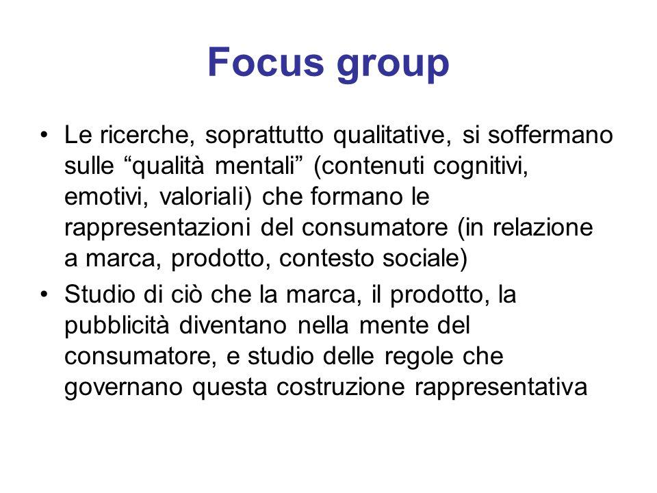 Focus group Le ricerche, soprattutto qualitative, si soffermano sulle qualità mentali (contenuti cognitivi, emotivi, valoriali) che formano le rappres