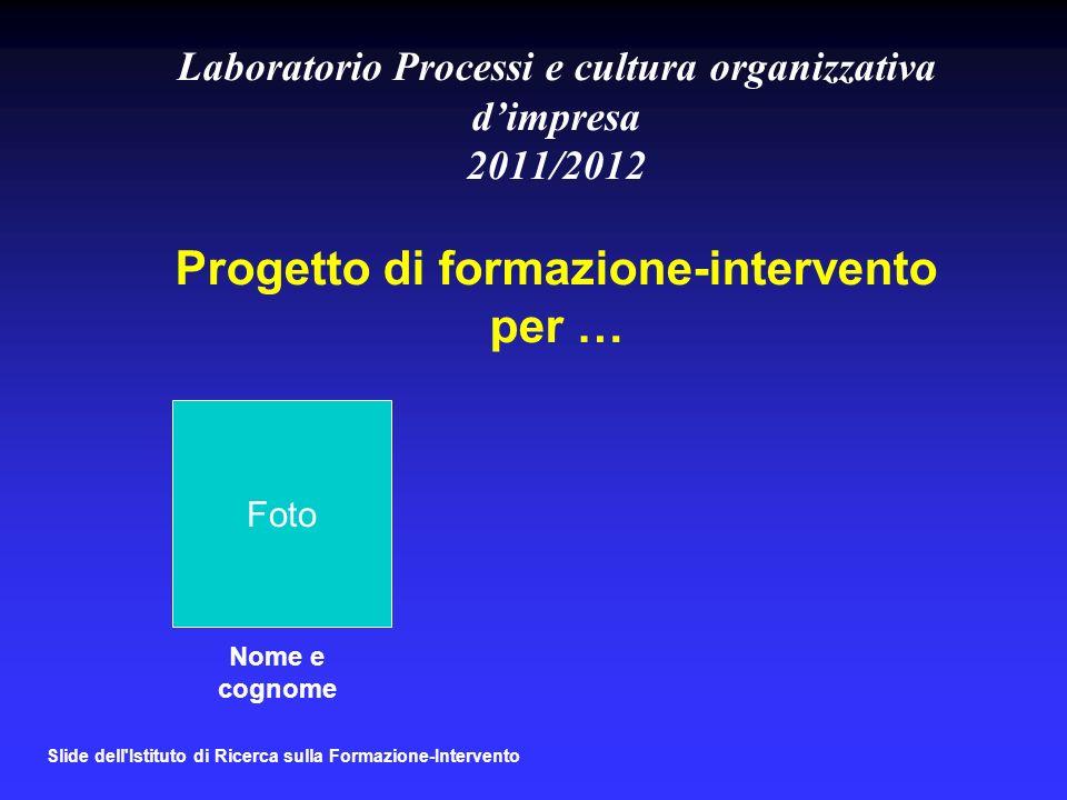 Slide dell Istituto di Ricerca sulla Formazione-Intervento Laboratorio Processi e cultura organizzativa dimpresa 2011/2012 Progetto di formazione-intervento per … Nome e cognome Foto