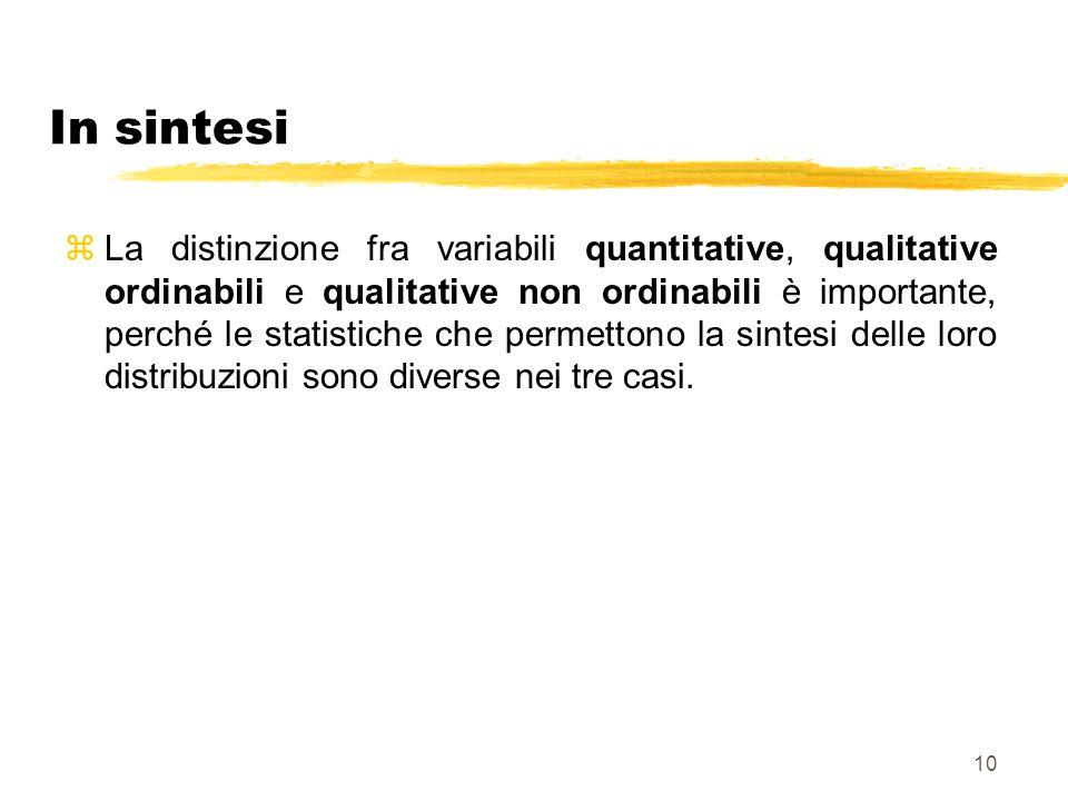 10 In sintesi zLa distinzione fra variabili quantitative, qualitative ordinabili e qualitative non ordinabili è importante, perché le statistiche che