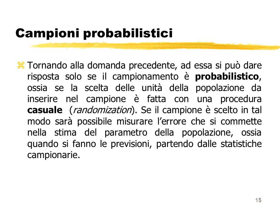 15 Campioni probabilistici zTornando alla domanda precedente, ad essa si può dare risposta solo se il campionamento è probabilistico, ossia se la scel