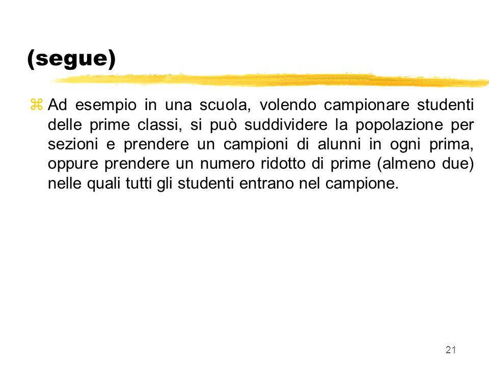 21 (segue) zAd esempio in una scuola, volendo campionare studenti delle prime classi, si può suddividere la popolazione per sezioni e prendere un camp