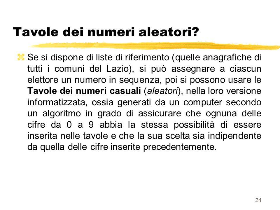 24 Tavole dei numeri aleatori? zSe si dispone di liste di riferimento (quelle anagrafiche di tutti i comuni del Lazio), si può assegnare a ciascun ele
