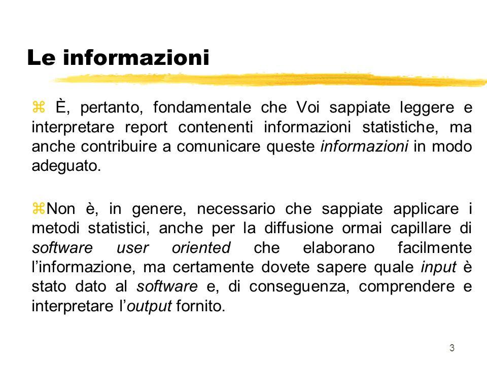 4 Le definizioni base z In unindagine in cui si utilizza il metodo statistico vi sono due punti di riferimento chiave: le unità statistiche sulle quali si raccolgono le informazioni e i caratteri che costituiscono le informazioni stesse.