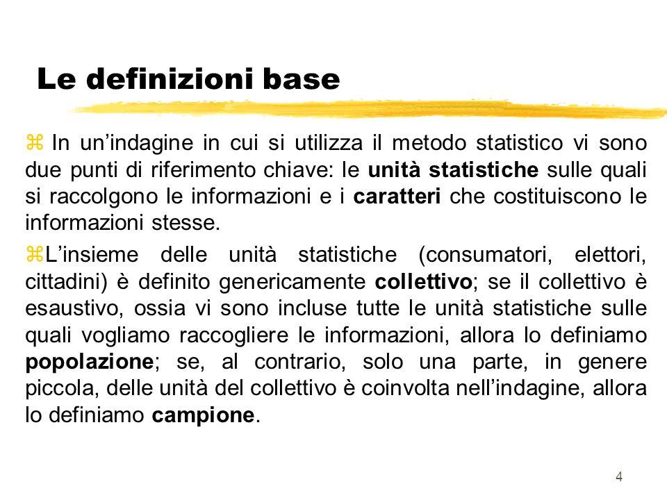 5 Variabili z I caratteri che costituiscono le informazioni devono assumere valori diversi nelle unità del collettivo; se tutte le unità presentano lo stesso valore il metodo statistico non serve; possiamo dire che la statistica studia la variabilità dellinformazione: pertanto risulta più facile definire le informazioni come variabili.