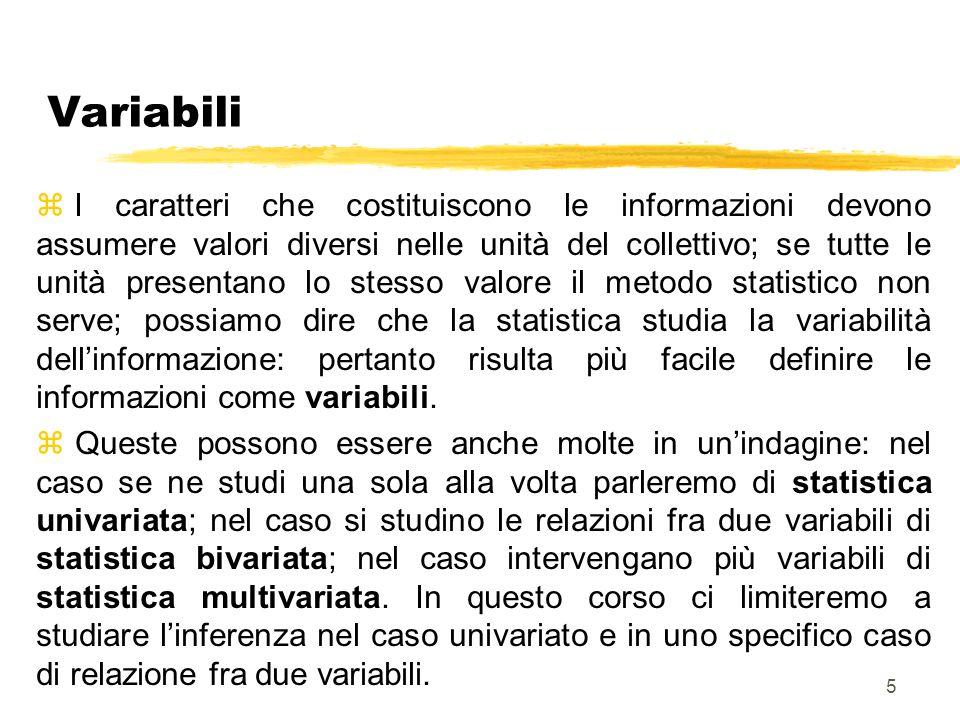 5 Variabili z I caratteri che costituiscono le informazioni devono assumere valori diversi nelle unità del collettivo; se tutte le unità presentano lo