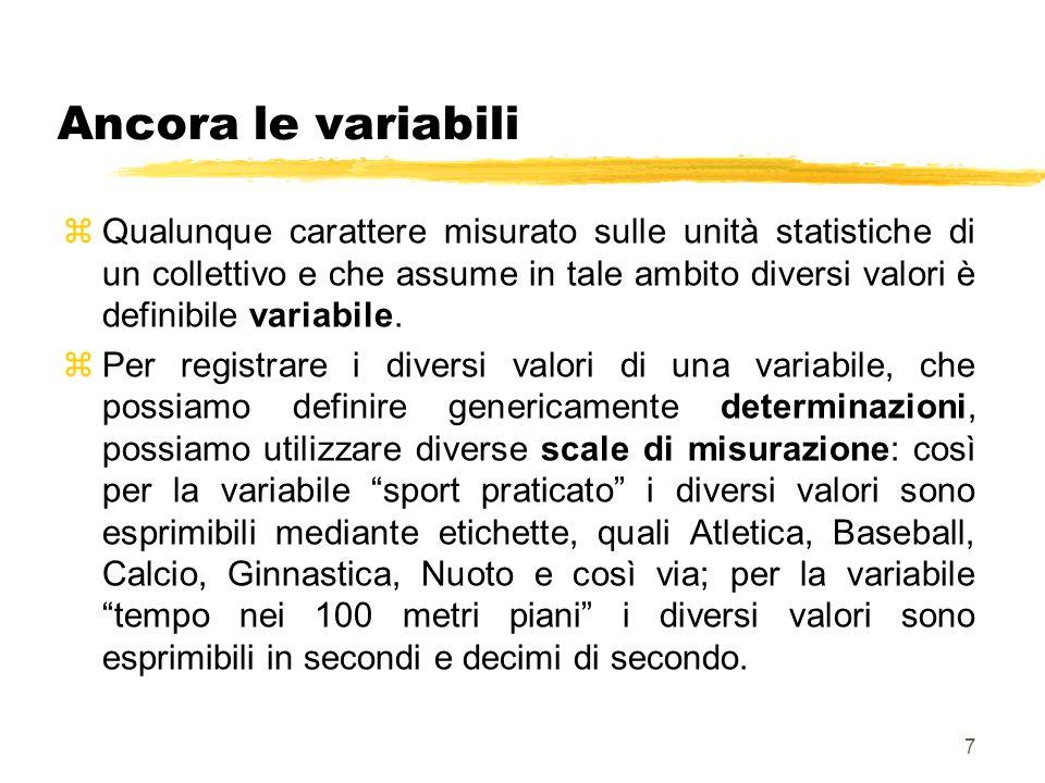 7 Ancora le variabili zQualunque carattere misurato sulle unità statistiche di un collettivo e che assume in tale ambito diversi valori è definibile v
