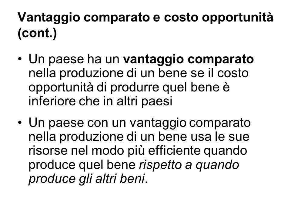 Vantaggio comparato e costo opportunità (cont.) Un paese ha un vantaggio comparato nella produzione di un bene se il costo opportunità di produrre que