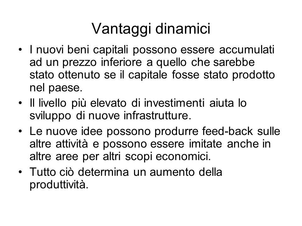 Vantaggi dinamici I nuovi beni capitali possono essere accumulati ad un prezzo inferiore a quello che sarebbe stato ottenuto se il capitale fosse stat