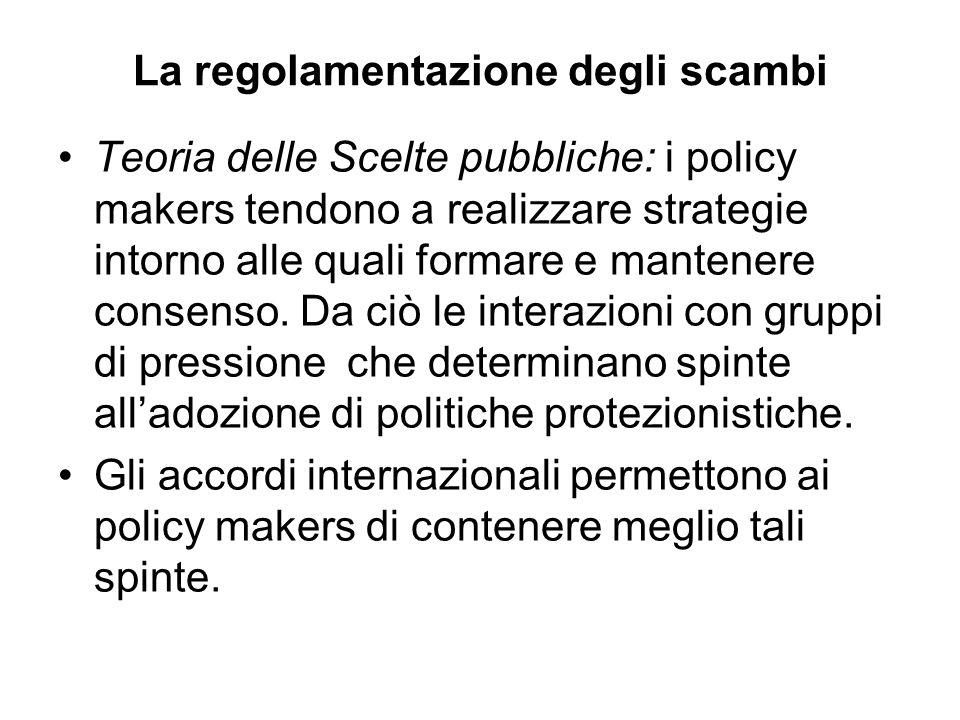 La regolamentazione degli scambi Teoria delle Scelte pubbliche: i policy makers tendono a realizzare strategie intorno alle quali formare e mantenere