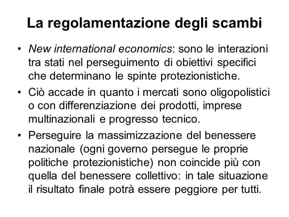 La regolamentazione degli scambi New international economics: sono le interazioni tra stati nel perseguimento di obiettivi specifici che determinano l