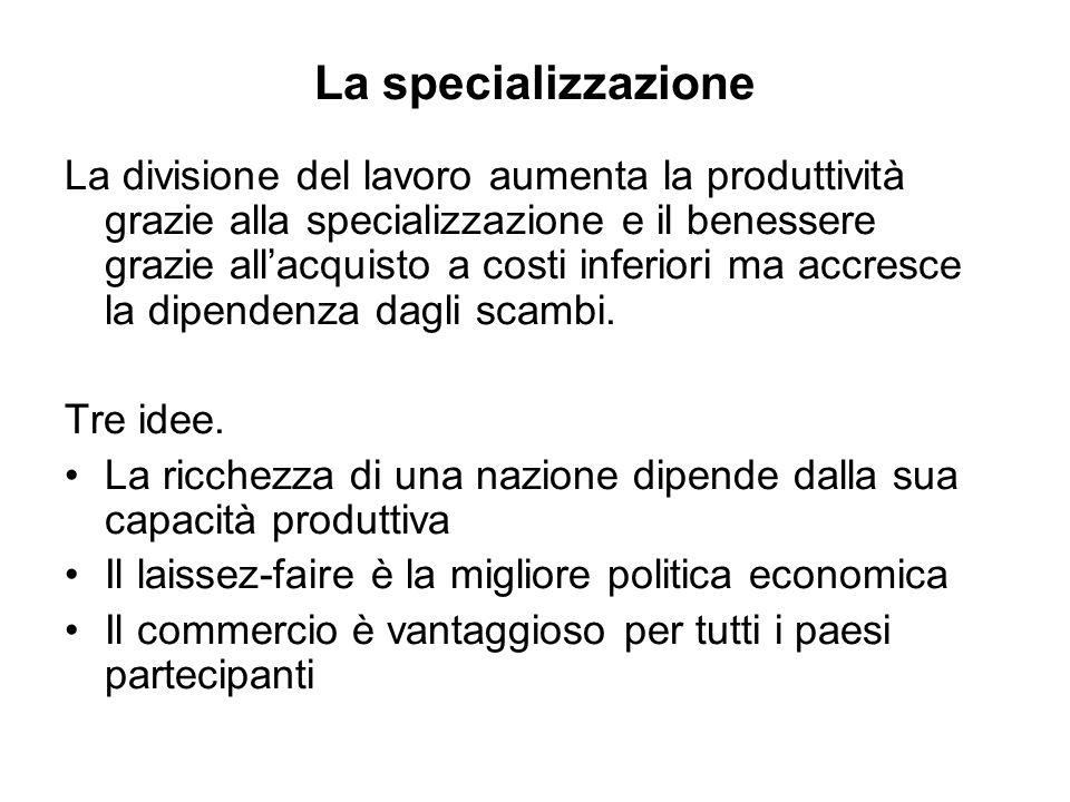 La specializzazione La divisione del lavoro aumenta la produttività grazie alla specializzazione e il benessere grazie allacquisto a costi inferiori m