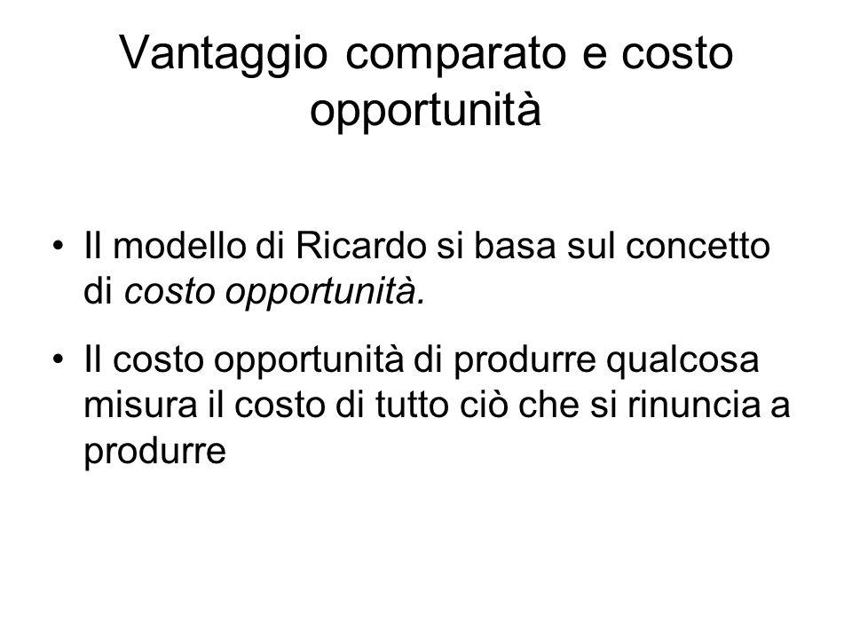 Vantaggio comparato e costo opportunità Il modello di Ricardo si basa sul concetto di costo opportunità. Il costo opportunità di produrre qualcosa mis