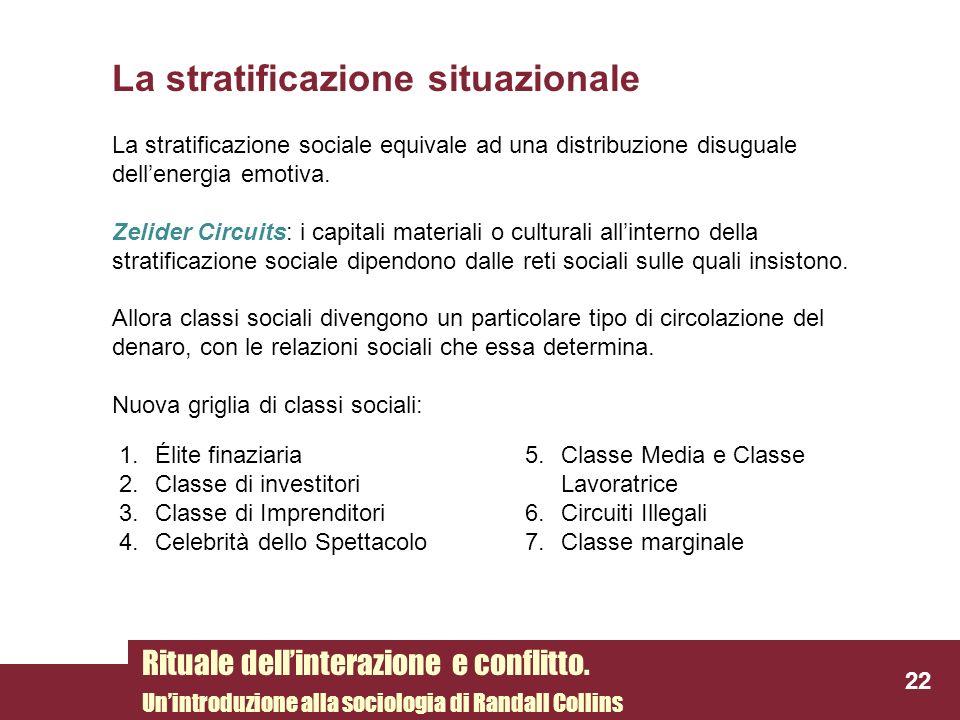 La stratificazione situazionale La stratificazione sociale equivale ad una distribuzione disuguale dellenergia emotiva. Zelider Circuits: i capitali m
