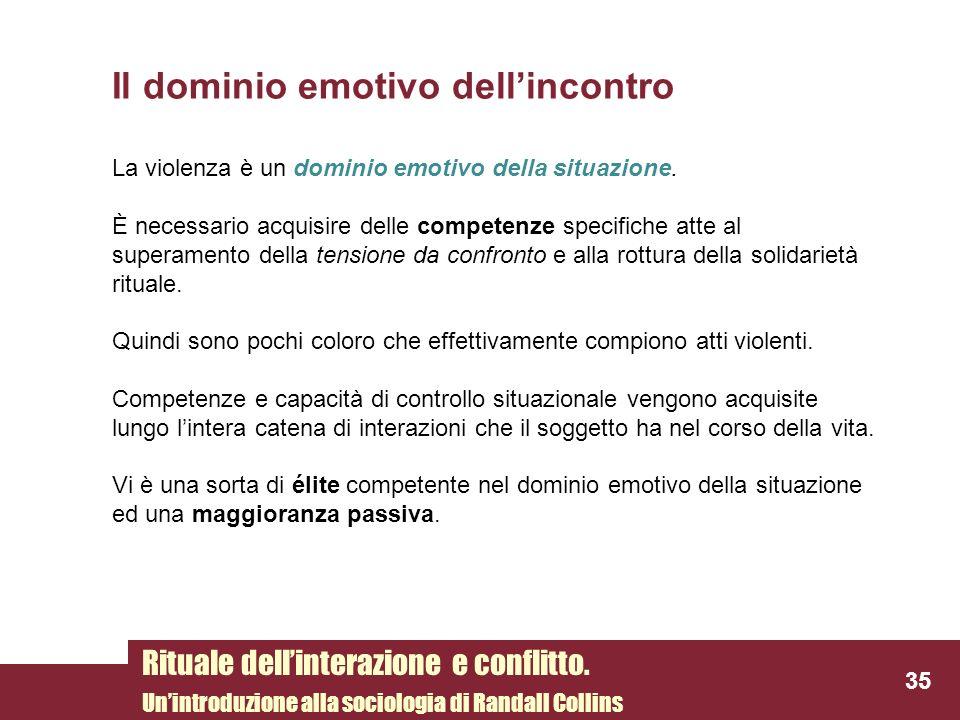 Il dominio emotivo dellincontro La violenza è un dominio emotivo della situazione. È necessario acquisire delle competenze specifiche atte al superame