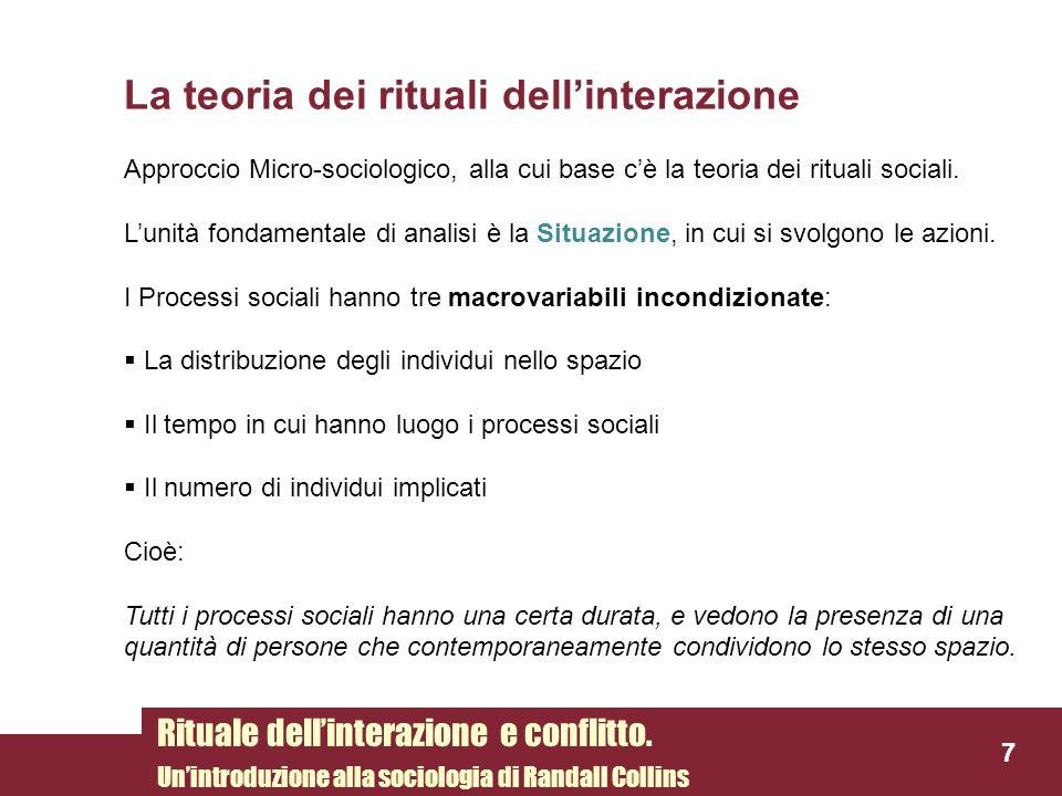 La teoria dei rituali dellinterazione 7 Rituale dellinterazione e conflitto. Unintroduzione alla sociologia di Randall Collins Approccio Micro-sociolo