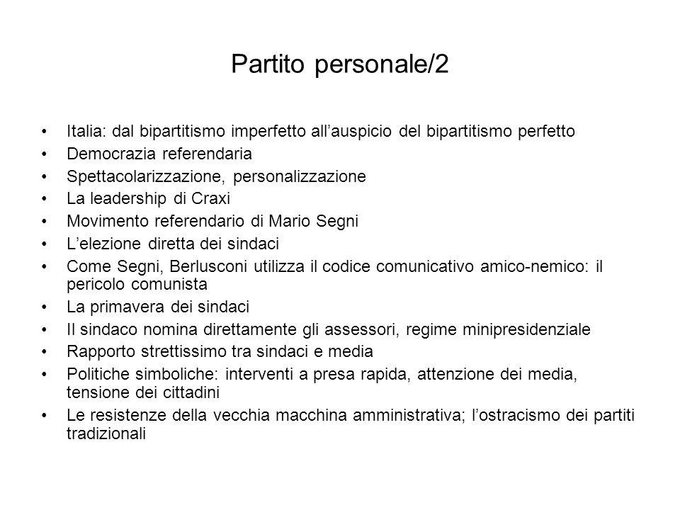 Partito personale/2 Italia: dal bipartitismo imperfetto allauspicio del bipartitismo perfetto Democrazia referendaria Spettacolarizzazione, personaliz