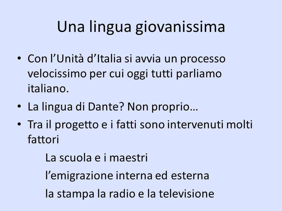 Una lingua giovanissima Con lUnità dItalia si avvia un processo velocissimo per cui oggi tutti parliamo italiano. La lingua di Dante? Non proprio… Tra