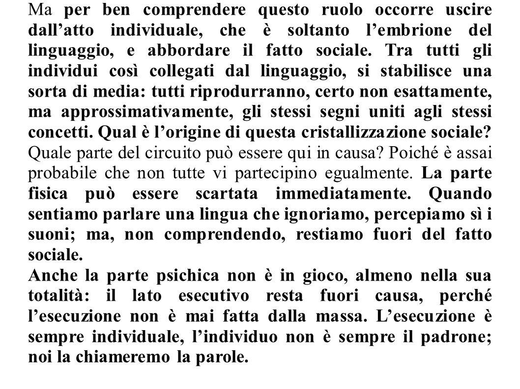 Ma per ben comprendere questo ruolo occorre uscire dallatto individuale, che è soltanto lembrione del linguaggio, e abbordare il fatto sociale. Tra tu