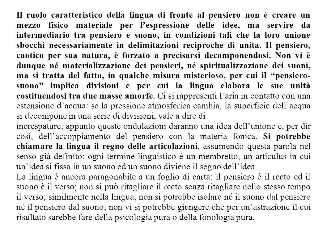 Il ruolo caratteristico della lingua di fronte al pensiero non è creare un mezzo fisico materiale per lespressione delle idee, ma servire da intermedi
