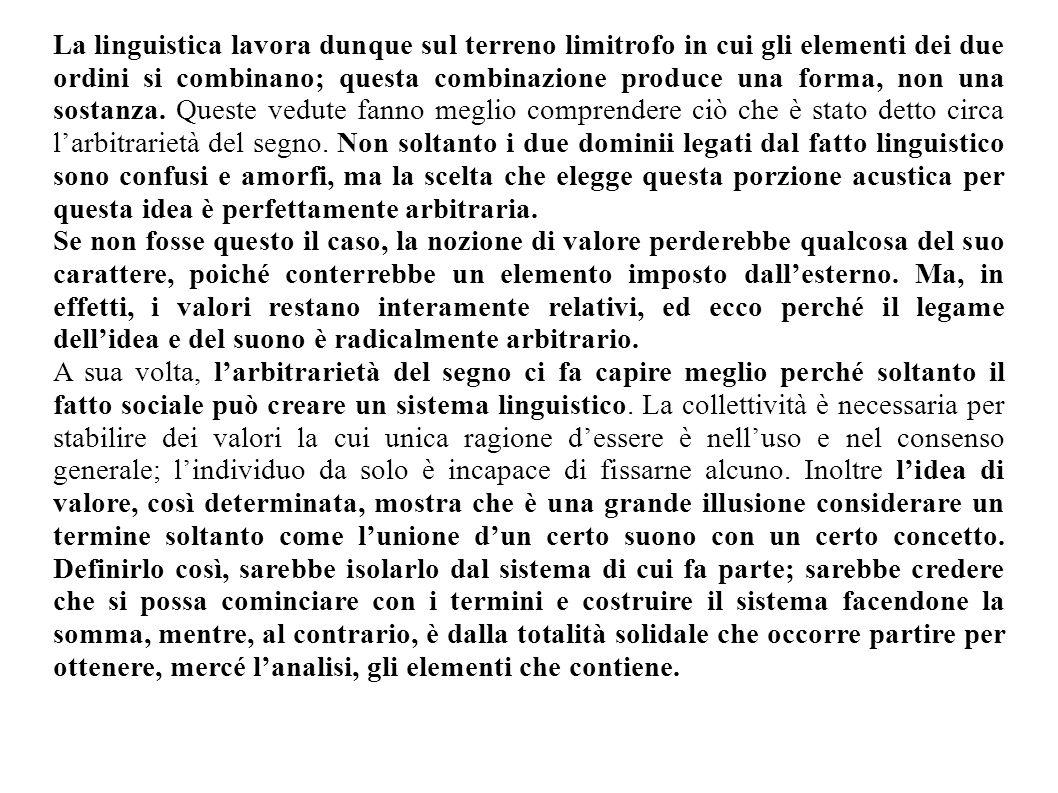 La linguistica lavora dunque sul terreno limitrofo in cui gli elementi dei due ordini si combinano; questa combinazione produce una forma, non una sos
