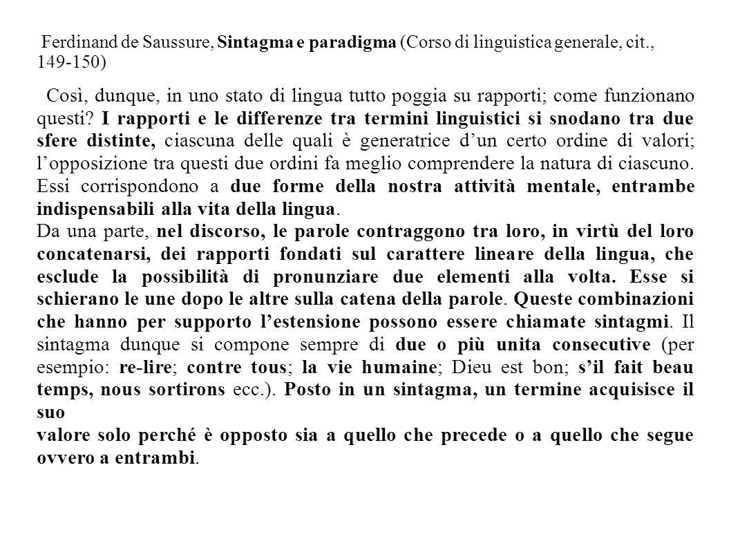 Ferdinand de Saussure, Sintagma e paradigma (Corso di linguistica generale, cit., 149-150) Così, dunque, in uno stato di lingua tutto poggia su rappor