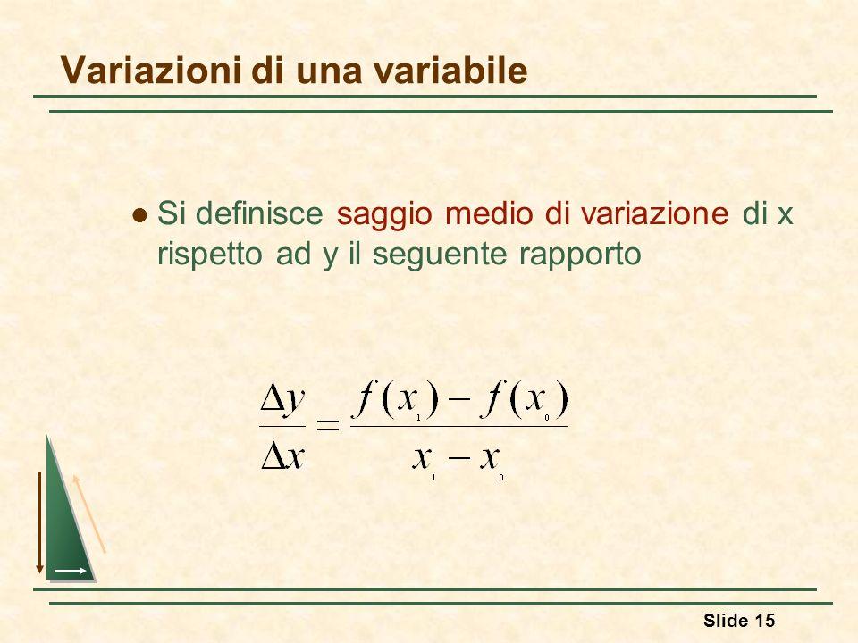 Slide 15 Variazioni di una variabile Si definisce saggio medio di variazione di x rispetto ad y il seguente rapporto