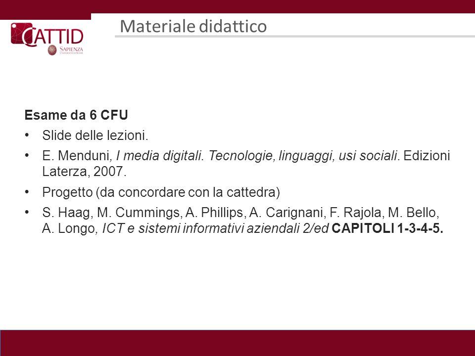 Materiale didattico Esame da 4 CFU Slide delle lezioni.