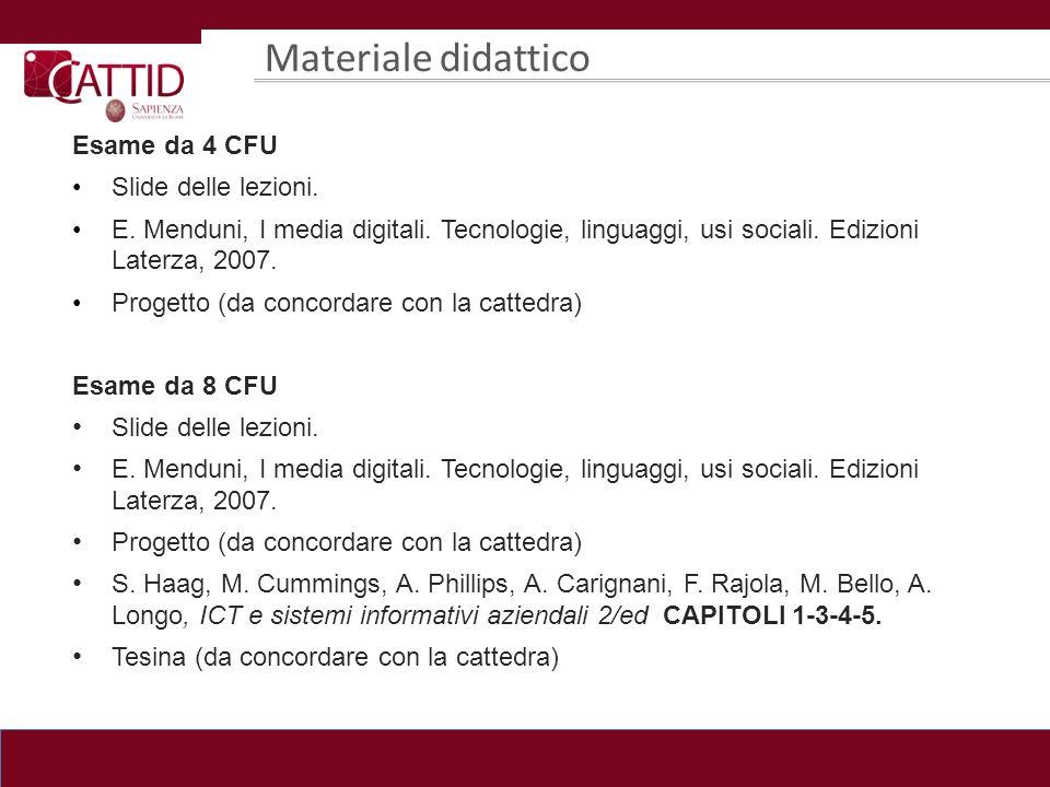 Materiale didattico Esame da 4 CFU Slide delle lezioni. E. Menduni, I media digitali. Tecnologie, linguaggi, usi sociali. Edizioni Laterza, 2007. Prog