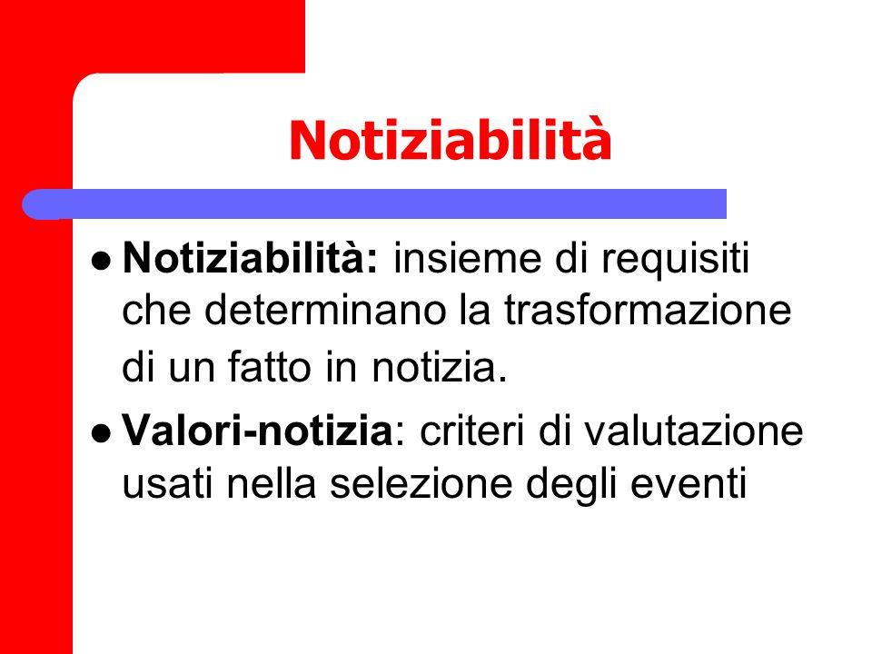 Notiziabilità Notiziabilità: insieme di requisiti che determinano la trasformazione di un fatto in notizia. Valori-notizia: criteri di valutazione usa