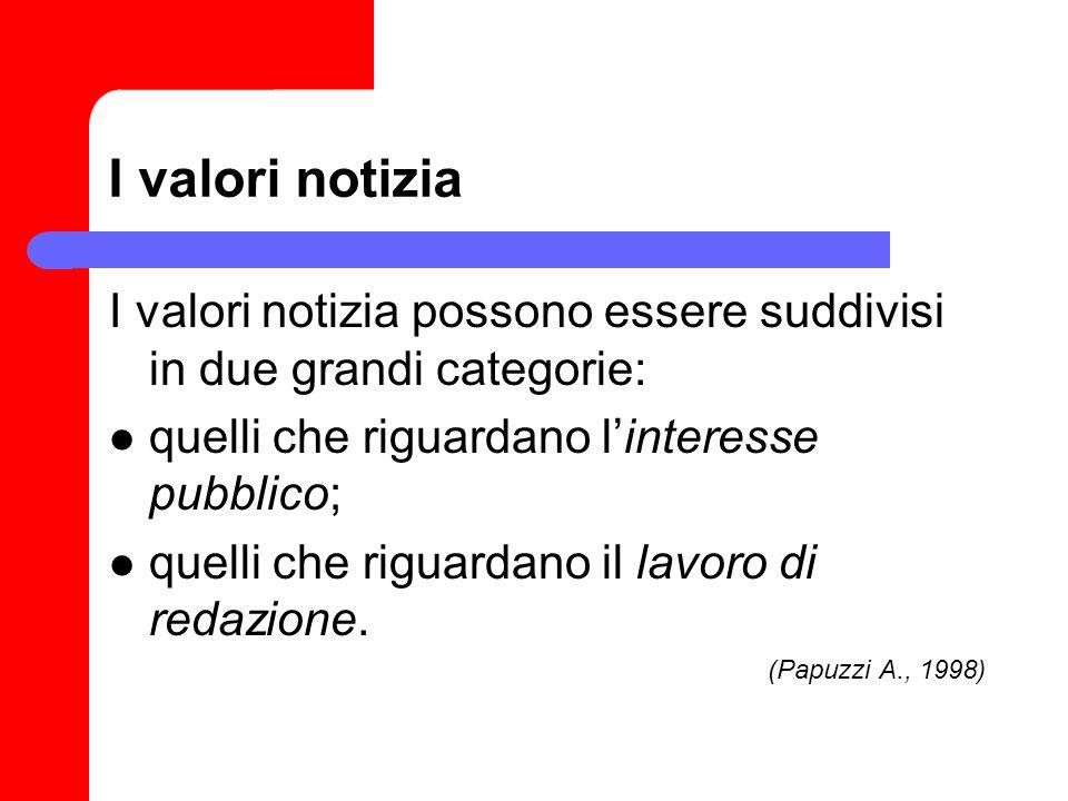 I valori notizia I valori notizia possono essere suddivisi in due grandi categorie: quelli che riguardano linteresse pubblico; quelli che riguardano i