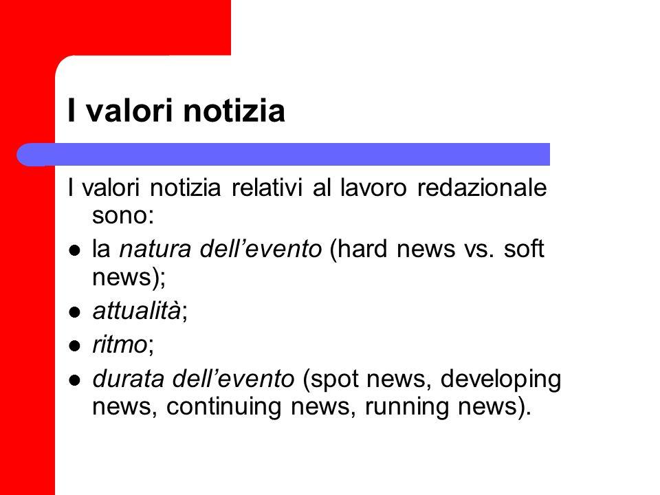 I valori notizia I valori notizia relativi al lavoro redazionale sono: la natura dellevento (hard news vs. soft news); attualità; ritmo; durata dellev