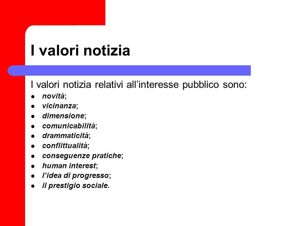 I valori notizia I valori notizia relativi allinteresse pubblico sono: novità; vicinanza; dimensione; comunicabilità; drammaticità; conflittualità; co