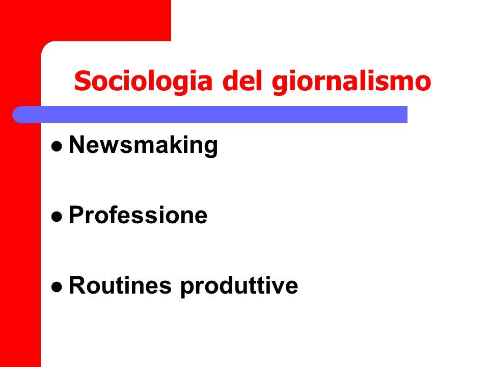 Sociologia del giornalismo Newsmaking Professione Routines produttive
