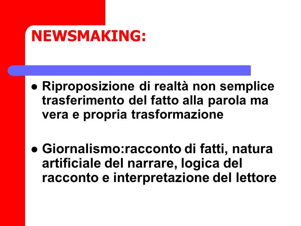 NEWSMAKING: Riproposizione di realtà non semplice trasferimento del fatto alla parola ma vera e propria trasformazione Giornalismo:racconto di fatti,