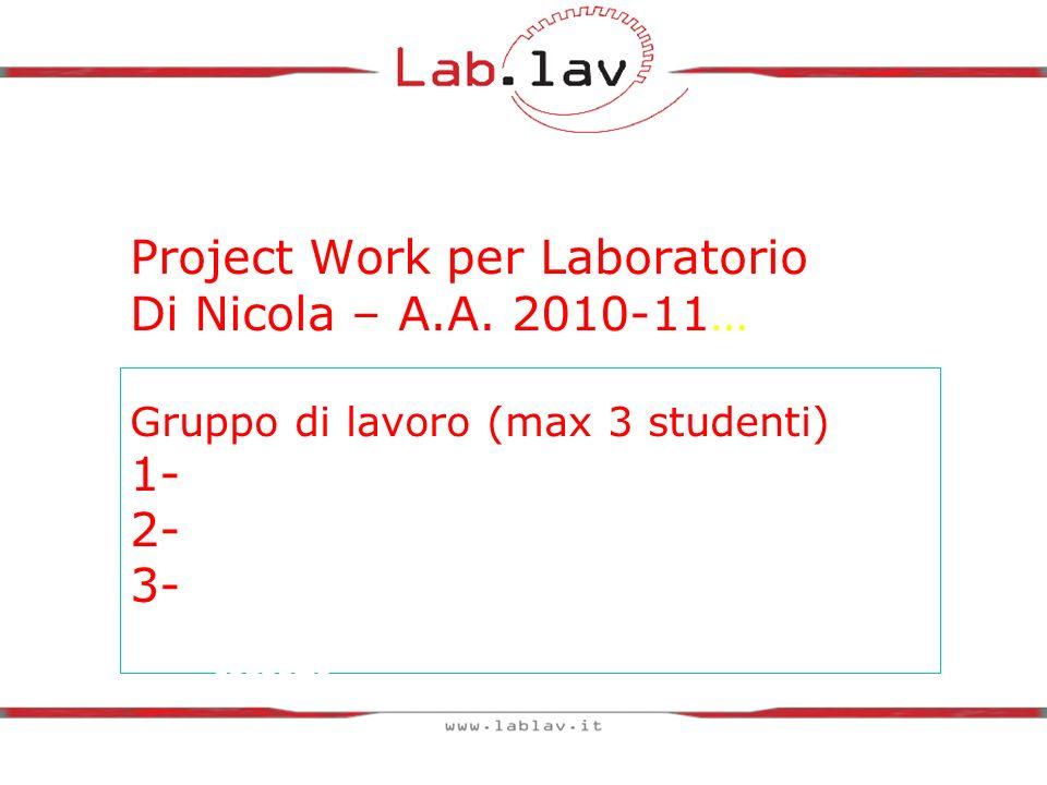 Project Work per Laboratorio Di Nicola – A.A. 2010-11… Gruppo di lavoro (max 3 studenti) 1- 2- 3- Nome e cognome