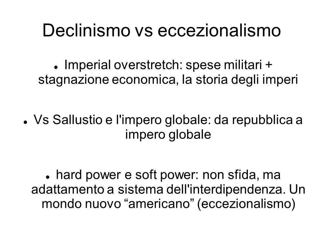 Declinismo vs eccezionalismo Imperial overstretch: spese militari + stagnazione economica, la storia degli imperi Vs Sallustio e l impero globale: da repubblica a impero globale hard power e soft power: non sfida, ma adattamento a sistema dell interdipendenza.