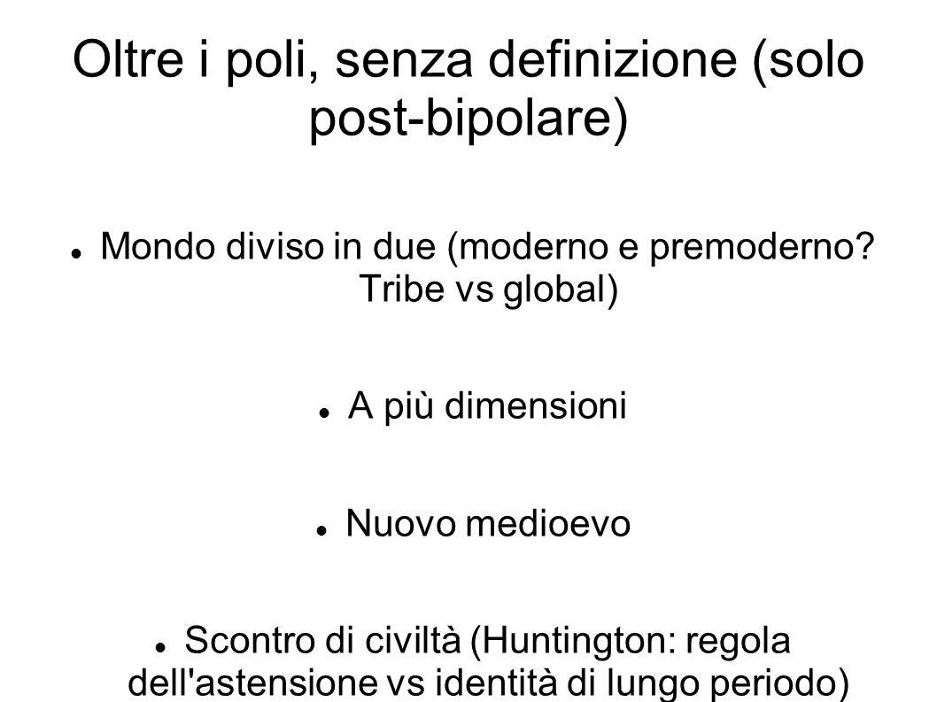 Oltre i poli, senza definizione (solo post-bipolare) Mondo diviso in due (moderno e premoderno? Tribe vs global) A più dimensioni Nuovo medioevo Scont