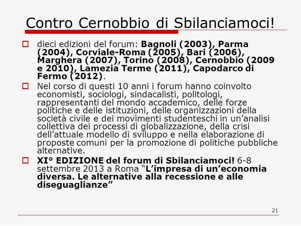 21 Contro Cernobbio di Sbilanciamoci! dieci edizioni del forum: Bagnoli (2003), Parma (2004), Corviale-Roma (2005), Bari (2006), Marghera (2007), Tori