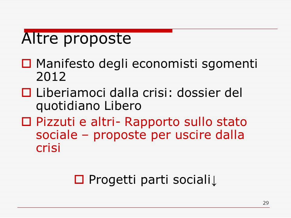 29 Altre proposte Manifesto degli economisti sgomenti 2012 Liberiamoci dalla crisi: dossier del quotidiano Libero Pizzuti e altri- Rapporto sullo stat