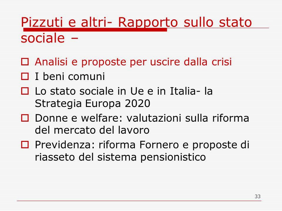 33 Pizzuti e altri- Rapporto sullo stato sociale – Analisi e proposte per uscire dalla crisi I beni comuni Lo stato sociale in Ue e in Italia- la Stra