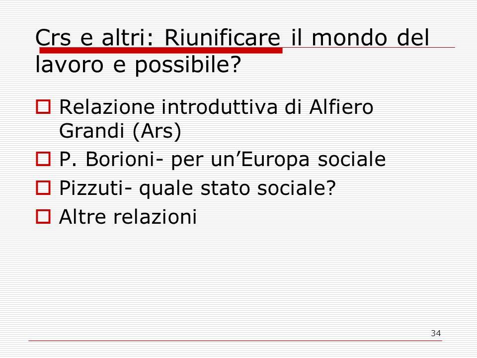 34 Crs e altri: Riunificare il mondo del lavoro e possibile? Relazione introduttiva di Alfiero Grandi (Ars) P. Borioni- per unEuropa sociale Pizzuti-