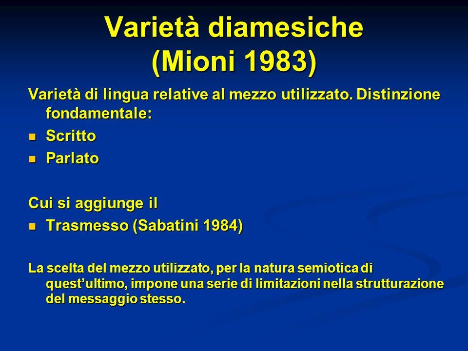 Varietà diamesiche (Mioni 1983) Varietà di lingua relative al mezzo utilizzato. Distinzione fondamentale: Scritto Scritto Parlato Parlato Cui si aggiu