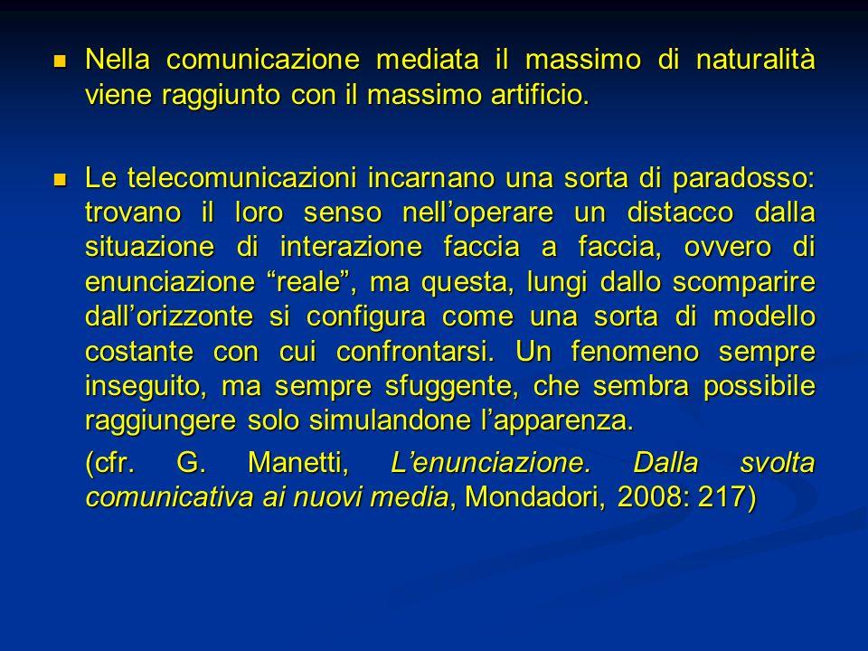 Nella comunicazione mediata il massimo di naturalità viene raggiunto con il massimo artificio. Nella comunicazione mediata il massimo di naturalità vi