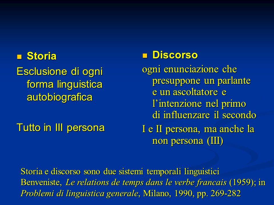 Storia Storia Esclusione di ogni forma linguistica autobiografica Tutto in III persona Discorso ogni enunciazione che presuppone un parlante e un asco