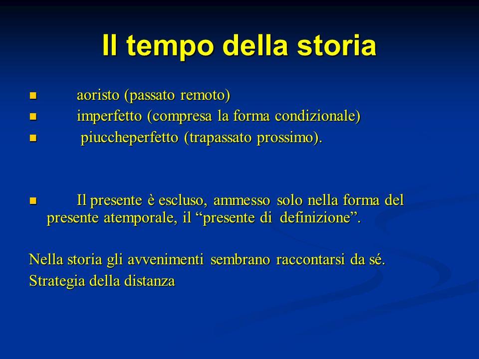 Il tempo della storia aoristo (passato remoto) aoristo (passato remoto) imperfetto (compresa la forma condizionale) imperfetto (compresa la forma cond