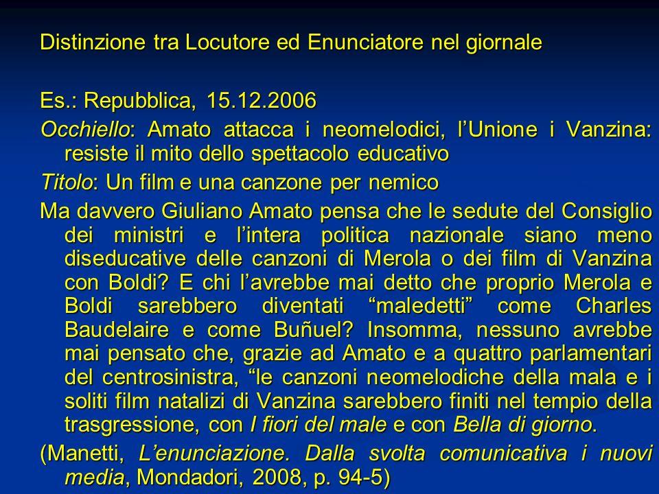 Distinzione tra Locutore ed Enunciatore nel giornale Es.: Repubblica, 15.12.2006 Occhiello: Amato attacca i neomelodici, lUnione i Vanzina: resiste il