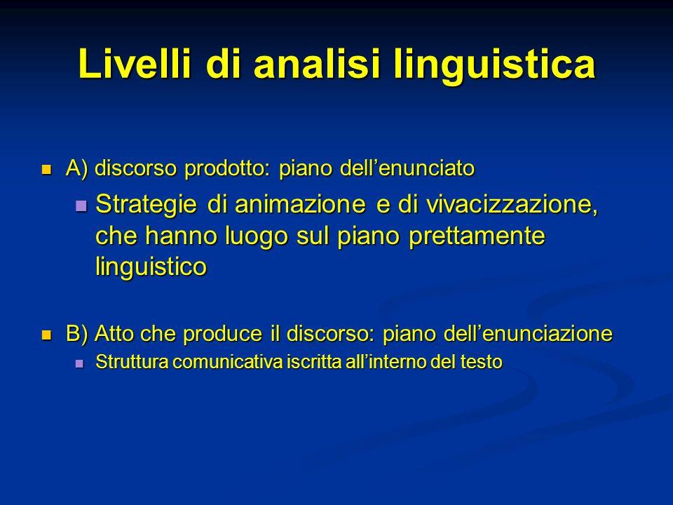 Livelli di analisi linguistica A) discorso prodotto: piano dellenunciato A) discorso prodotto: piano dellenunciato Strategie di animazione e di vivaci